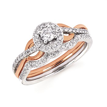 Rose and White Gold Halo Engagement Ring by Ostbye