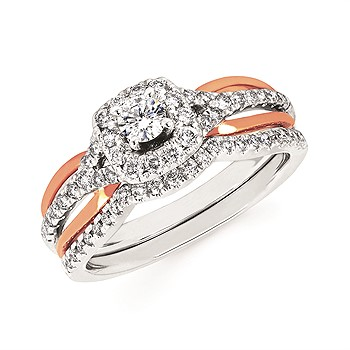 14k White and Rose Gold Halo Engagement Ring by Ostbye