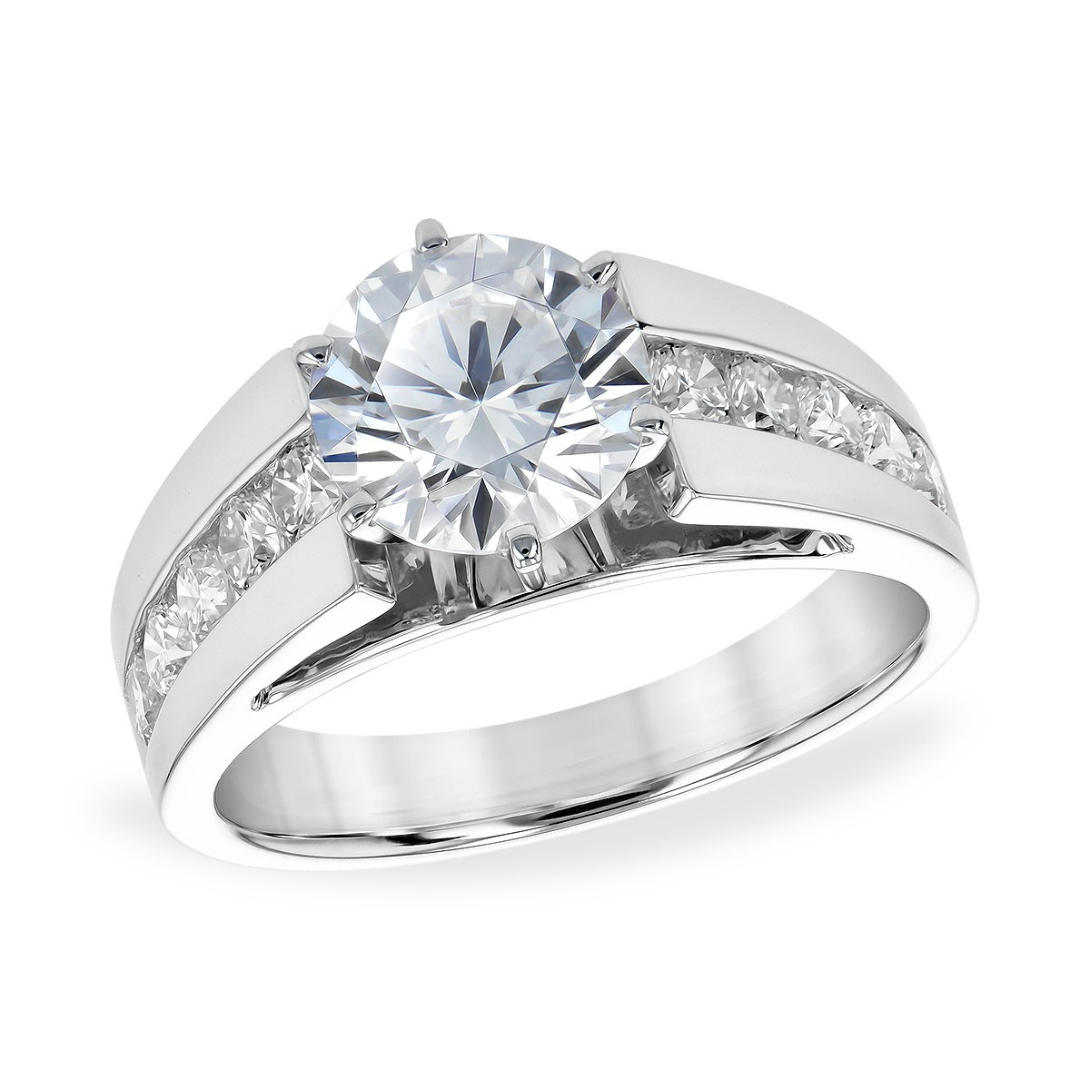 Modern Sleek Wide Band Engagement Ring by Allison Kaufman