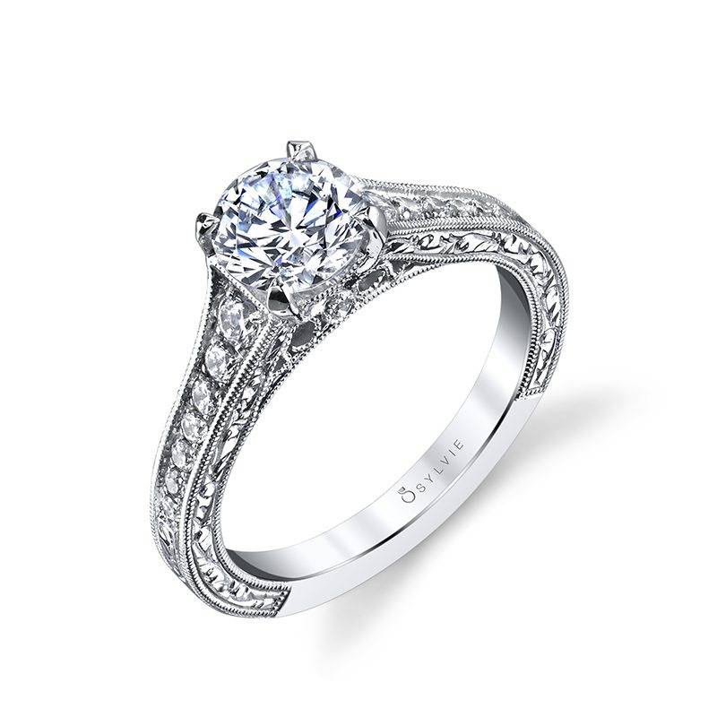 Vintage Inspired Solitaire Engagement Ring with Accented Sides by Sylvie