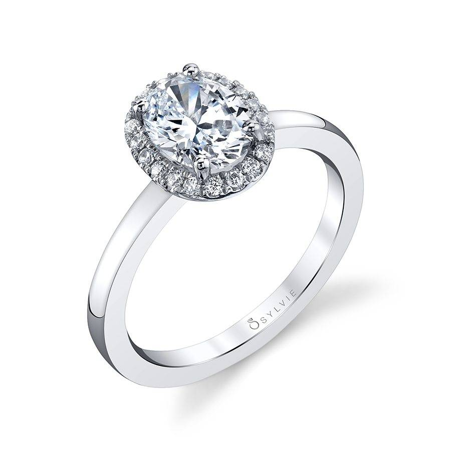 Modern Oval Engagement Ring with Halo by Sylvie