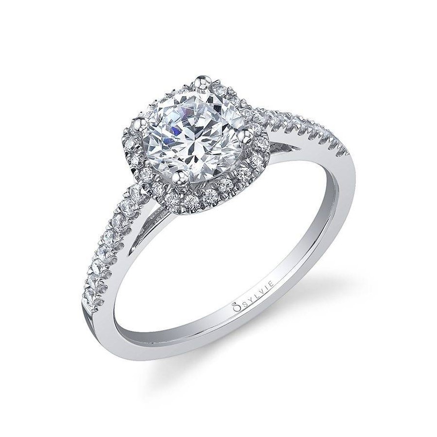 Classic Cushion Halo Engagement Ring by Sylvie