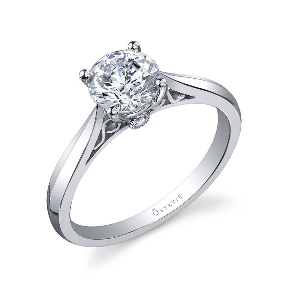 Round High Polish Solitaire Engagement Ring by Sylvie