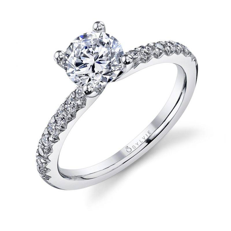 Classic Solitaire Engagement Ring with Accented Sides by Sylvie