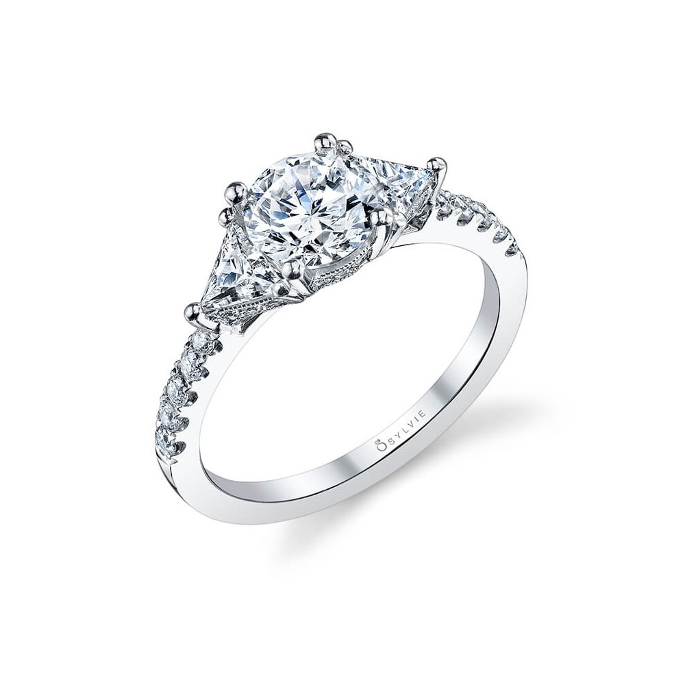 Elegant Three Stone Engagement Ring by Sylvie